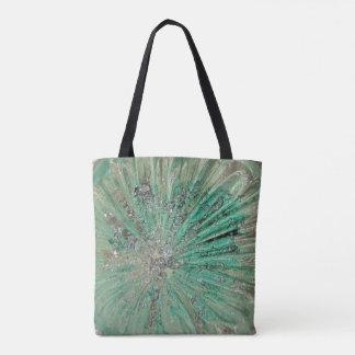 Vidro de explosão verde da arte da fortaleza da bolsa tote