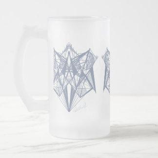 Vidro de fosco azul do desenhista da geometria de caneca de cerveja vidro jateado