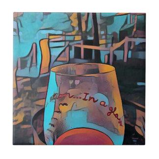 Vidro de vinho artístico legal azulejo quadrado pequeno