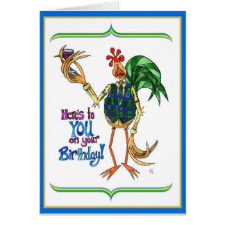 Vidro de vinho da ilustração do galo do cartão de