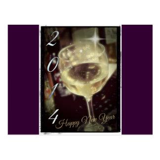 Vidro de vinho os 2014 felizes anos novos cartão postal