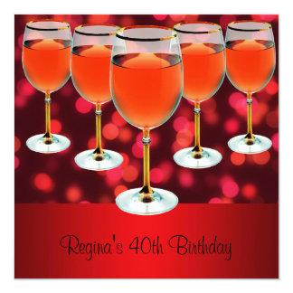 Vidro de vinho tinto do aniversário de 40 anos convite quadrado 13.35 x 13.35cm