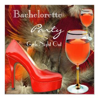 Vidro de vinho vermelho dos saltos dos calçados da convite quadrado 13.35 x 13.35cm