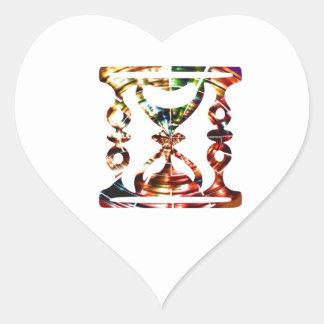 Vidro decorativo da hora - design vermelho adesivo coração