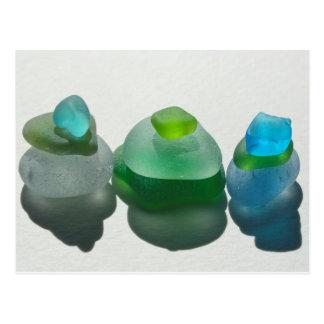 Vidro do mar, vidro da praia, azul, verde, cartão
