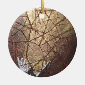 Vidro quebrado e luz solar ornamento de cerâmica redondo