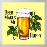 Vidro & saltos de cerveja com texto pôsteres