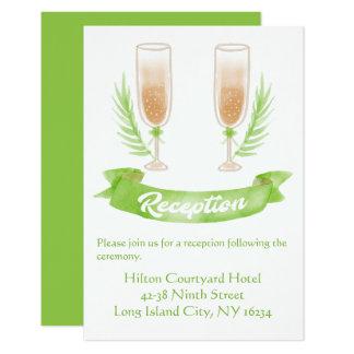 Vidro verde de Champagne da recepção de casamento Convite 8.89 X 12.7cm