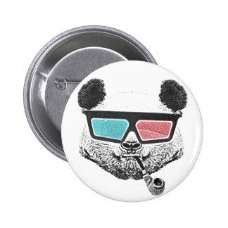Vidros 3-D da panda do vintage Bóton Redondo 5.08cm