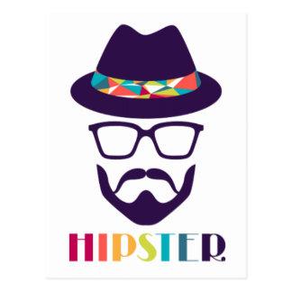 Vidros coloridos do chapéu do hipster legal cartão postal