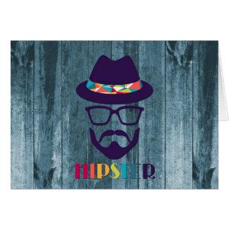 Vidros coloridos do chapéu do hipster legal na mad cartão comemorativo