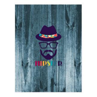 Vidros coloridos do chapéu do hipster legal na mad cartão postal