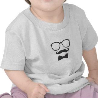 Vidros de Bowtie do hipster do bigode T-shirts