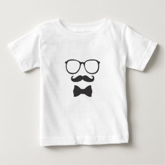 Vidros de Bowtie do hipster do bigode Camiseta Para Bebê