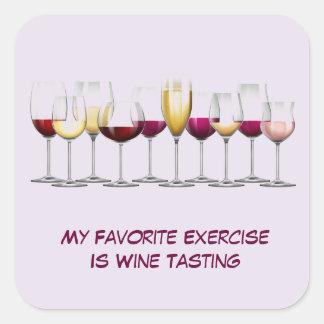 Vidros de vinho ilustrados adesivo quadrado
