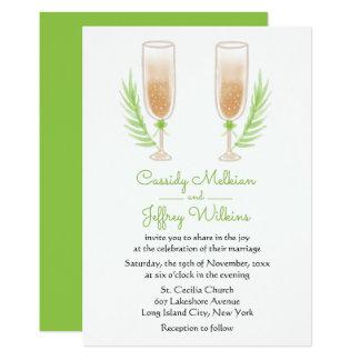 Vidros de vinho verdes de Champagne da aguarela Convite 12.7 X 17.78cm