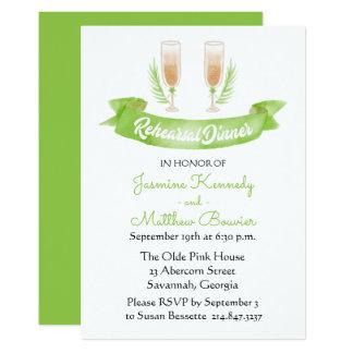 Vidros de vinho verdes do chá de panela da convite 12.7 x 17.78cm