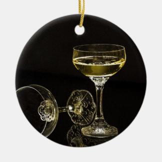 vidros do champanhe ornamento de cerâmica redondo