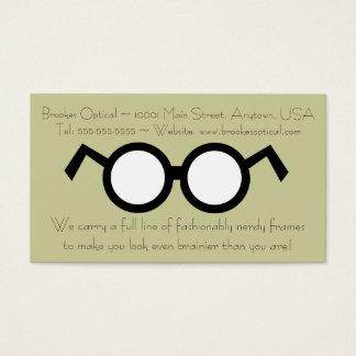 Vidros pretos redondos Nerdy do optometrista Cartão De Visitas