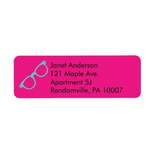 Vidros retros azuis cor-de-rosa e brilhantes etiqueta endereço de retorno