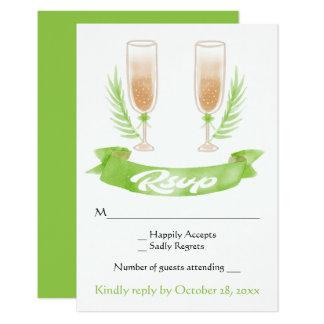 Vidros verdes de Champagne da aguarela de RSVP que Convite 8.89 X 12.7cm