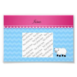 Vigas azuis pastel personalizadas dos carneiros impressão de foto