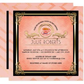 Vigas cor-de-rosa de Tiffany do tea party do chá Convite Quadrado 13.35 X 13.35cm