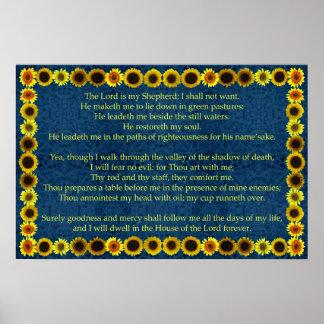 Vigésimo terceiro salmo com beira de Suflower Poster