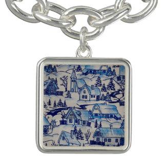 Vila azul do feriado do Natal do vintage Charm Bracelet
