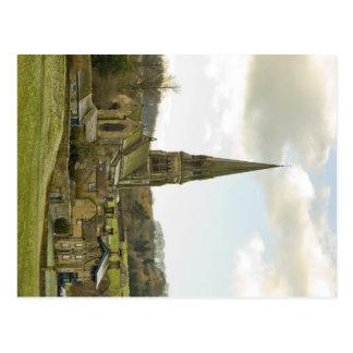 Vila de Edensor e igreja - cartão