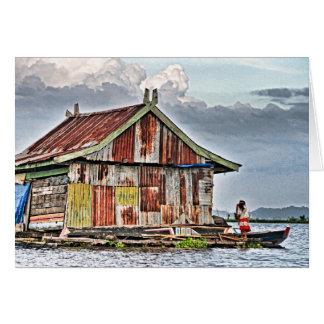 Vila de flutuação, lago Tempe Cartão Comemorativo