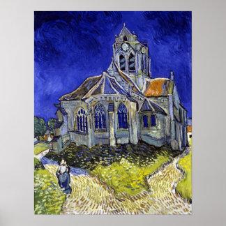 Vincent van Gogh a igreja em Auvers Pôster