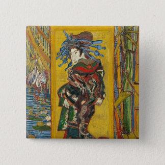 Vincent van Gogh - La Courtisane. Emblema retro do Bóton Quadrado 5.08cm