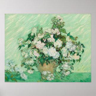 Vincent van Gogh que pinta, poster 1890 dos rosas