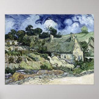 Vincent van Gogh Thatched a casa de campo em Poster