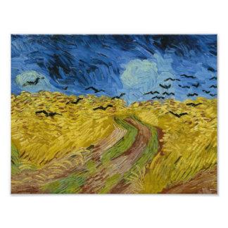 Vincent van Gogh - Wheatfield com corvos Impressão De Foto