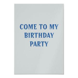 Vindo a meu cartão da festa de aniversário convite 8.89 x 12.7cm
