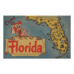 Vindo ao mapa de Florida do estado, menina Pin-Aci Posters