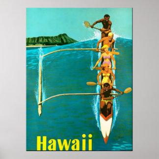 Vindo ao poster vintage de Havaí