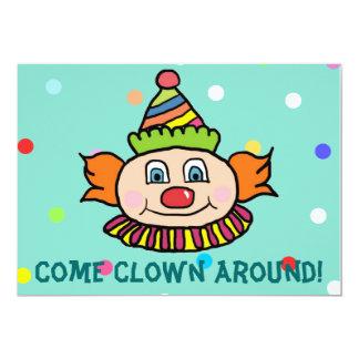 Vindo clown ao redor connosco o aniversário do convite 12.7 x 17.78cm