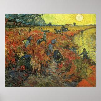Vinhedo vermelho pela arte do impressionismo do pôster