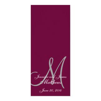 Vinho & branco do monograma do programa da igreja convite