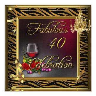 Vinho de 40 rosas fabuloso do ouro da zebra da convite quadrado 13.35 x 13.35cm