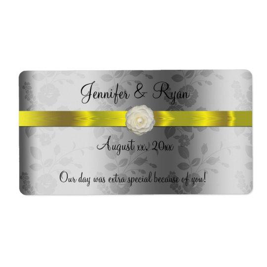 Vinho do casamento, amarelo e de prata elegantes, etiqueta de frete