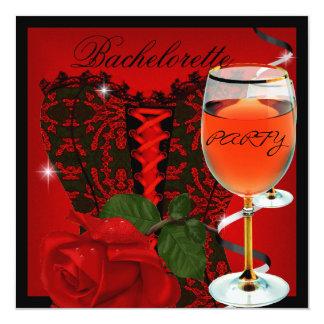 Vinho do preto do espartilho da rosa vermelha da convite quadrado 13.35 x 13.35cm