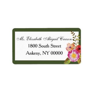 Vinho e flores que Wedding a etiqueta de endereço