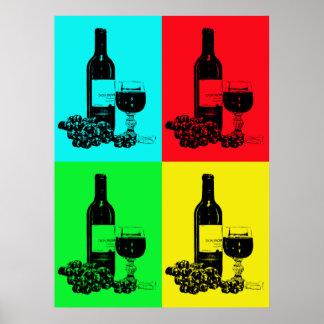 Vinho e poster modernos do pop art das uvas pôster