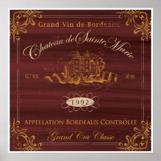 Vinho francês LabelArt: Bordéus Pôster