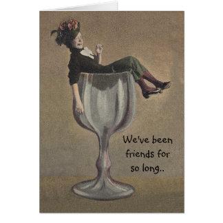 Vinho mau do party girl da influência do cartão de
