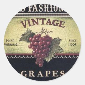 Vinho velho das uvas do vintage da forma, o roxo e adesivo em formato redondo